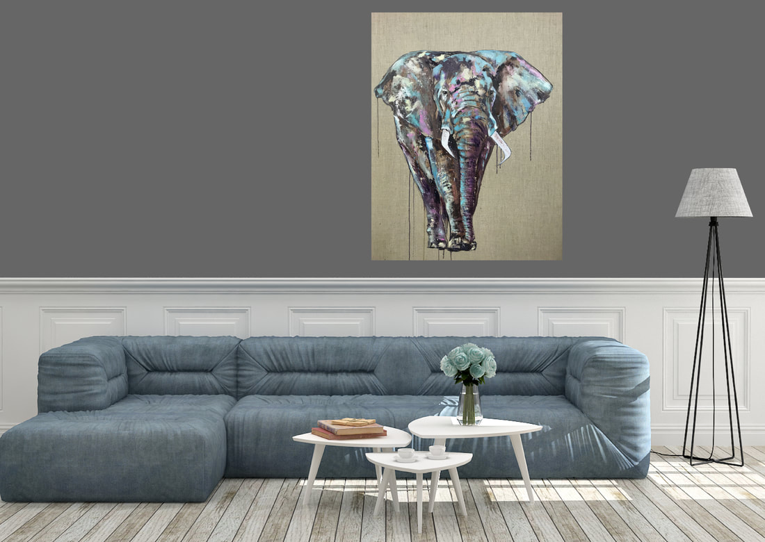 Elephant oil painting by Louise Luton in lounge setting
