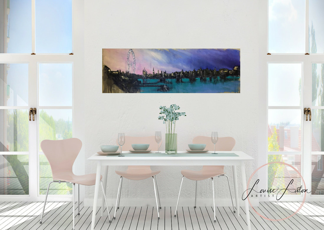 London skyline oil painting by Louise Luton in lounge setting
