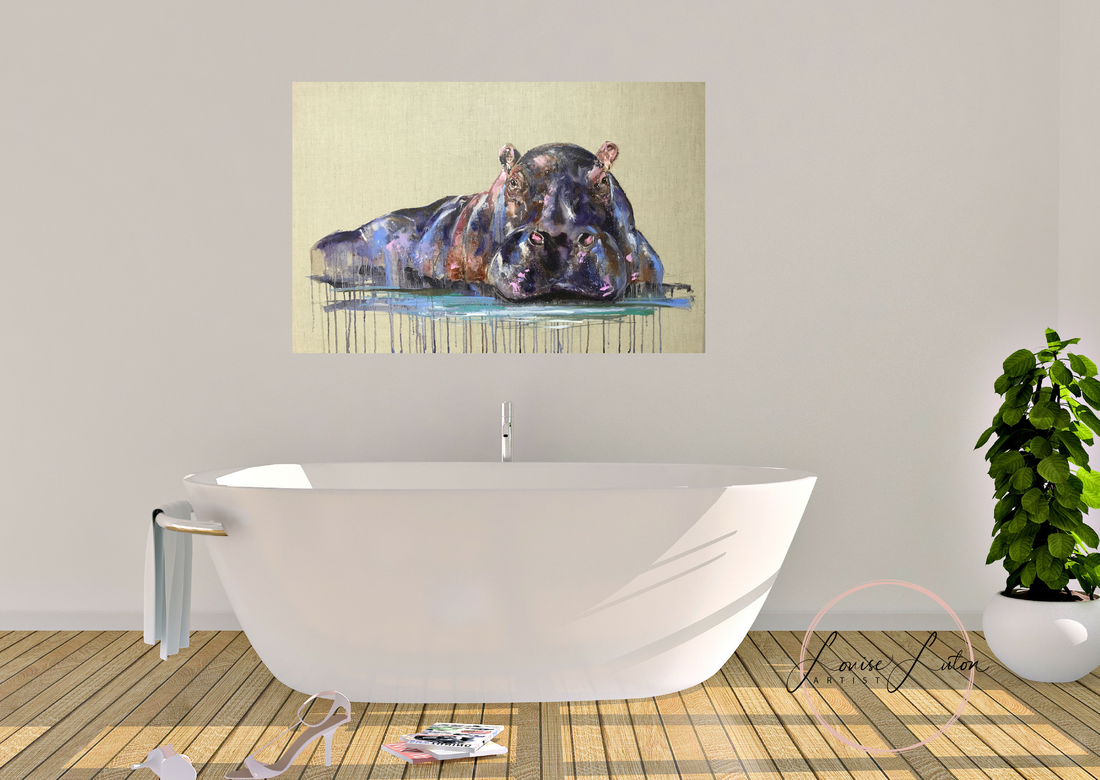 Hippo painting by Louise Luton