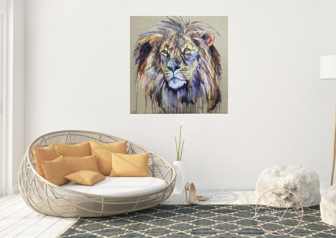 Lion oil painting by Louise Luton in lounge setting