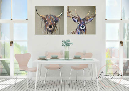 Cow and stag oil paintings  by Louise Luton in dining room setting