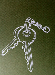 Keys. Line drawing