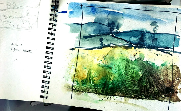 Louise Luton Sketchbook page of countryside watercolour