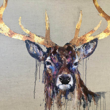Burely Stag Painting Louise Luton