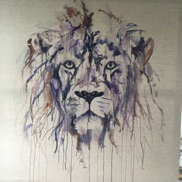 First layer of a lion painting by Louise Luton