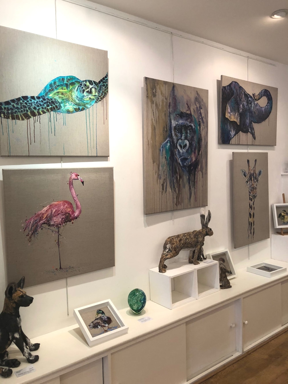 Paintings on display at The Wey Gallery