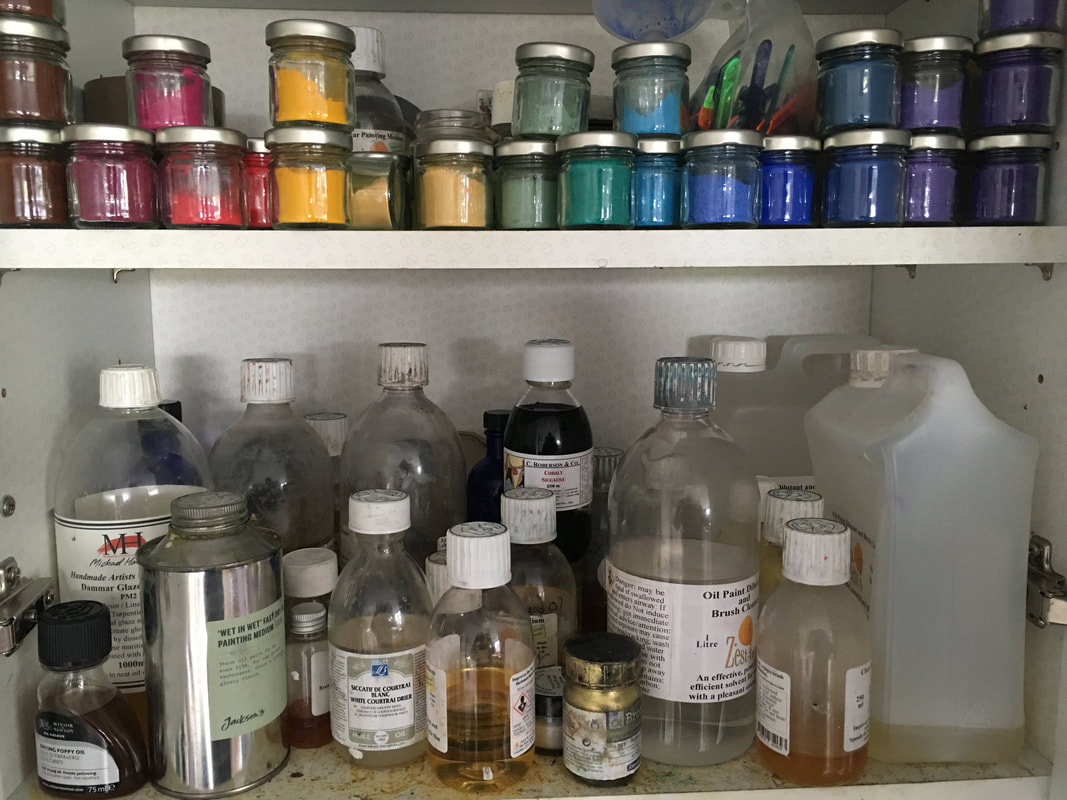 Inside the pigments and mediums cupboard in Louise Luton's studio