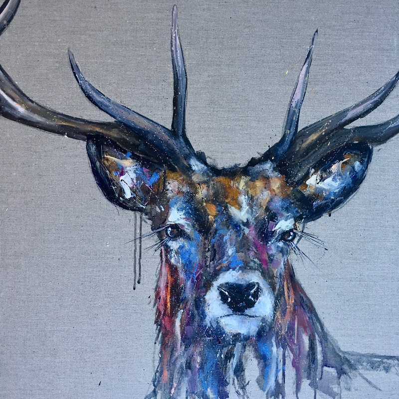 Stag painting, oil on linen, by Louise Luton