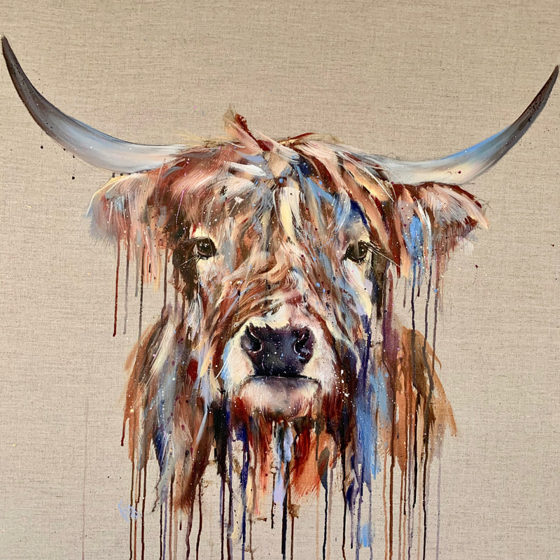 Bran highland cow painting by Louise Luton
