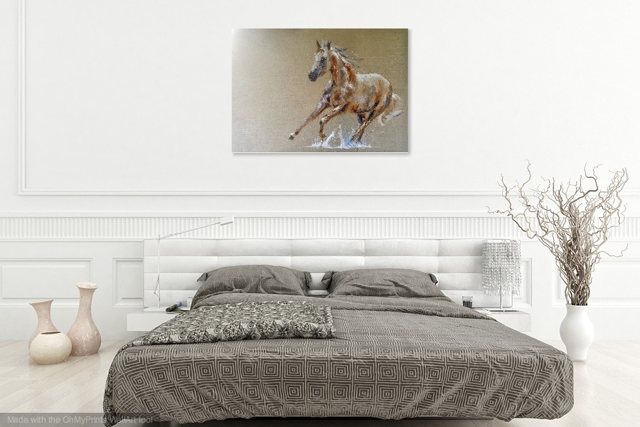 Oil painting of Camille, the white horse, in a bedroom setting.