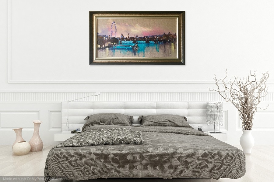 London skyline in a bedroom setting