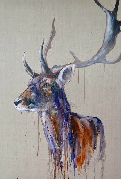 Oil painting of a stag, named Arturo by Louise Luton