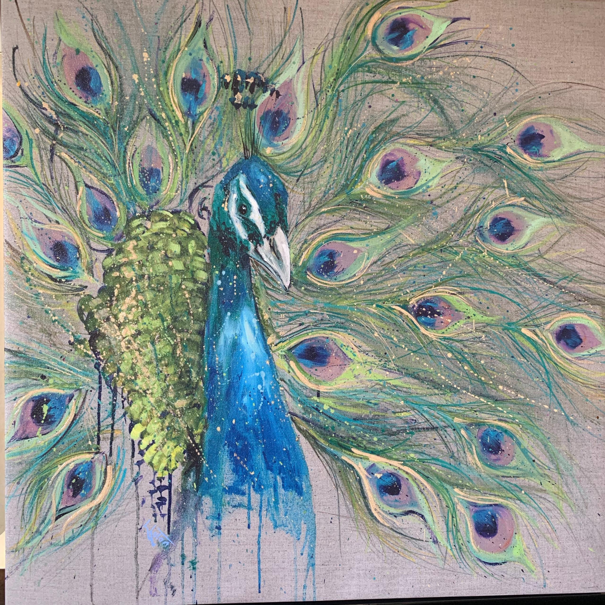 Pretty Peacock Print Canvas Louiseluton