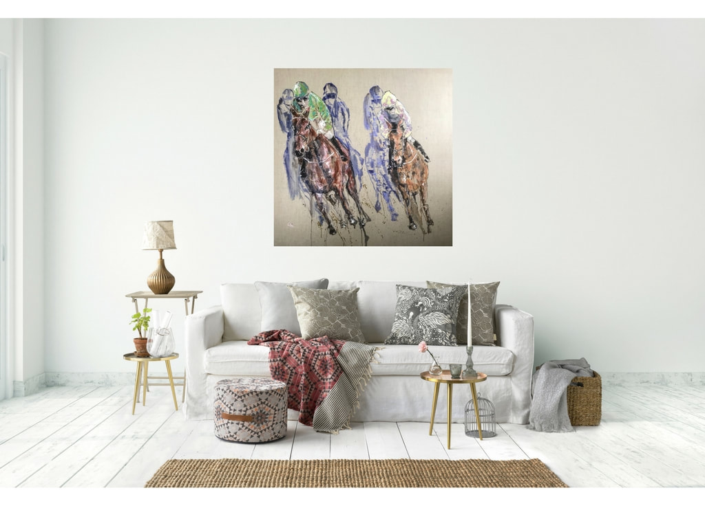 Horses racing in a lounge context
